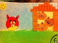 """The third little pig built a house of bricks. The wolf didn't blow down this one... it was too strong"""