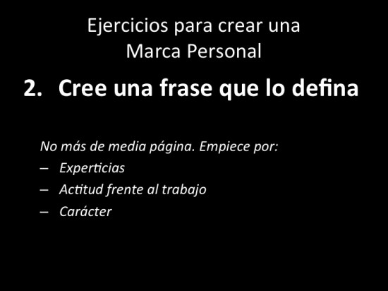 Ejercicio #2 - Crear una frase que nos defina